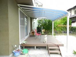 福岡県春日市 O様邸 ウッドデッキ テラス 屋根 施工例 デザイン 犬 庭