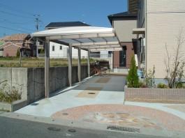福岡県宗像市I様邸カーポート・車庫のエクステリアデザイン例。