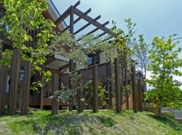 福岡県糸島市W様邸ガーデン工事のデザイン例。パーゴラとポールで雰囲気のあるガーデンに