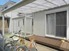 福岡県福岡市南区S様邸ウッドデッキとテラス・屋根のデザイン施工例。