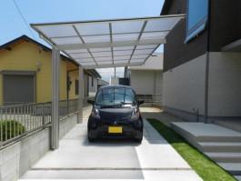 福岡県糸島市E様邸カーポート車庫のデザイン施工例。スタイリッシュなカーポート。