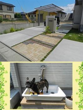 福岡県糸島市おしゃれな新築外構のデザイン例。ペットと暮らすエクステリア。