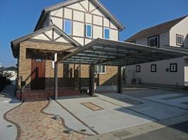 福岡県福岡市西区の新築外構・玄関アプローチ工事。石貼り・レンガのエクステリア。