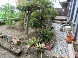 福岡県大牟田市の庭・ガーデンリフォーム工事前。デッキとココマでマイホームガーデンへ。