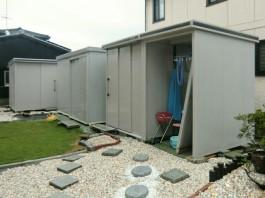 福岡で施工した物置の施工例です。ヨドコウ(ヨド物置)のエルモをお庭に施工しました。