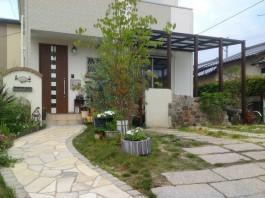 福岡県糟屋郡宇美町のお庭・ガーデン(テラスガーデン)工事例。