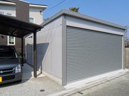 福岡県飯塚市の戸建新築外構工事です。車庫にはカーポートとガレージを施工。