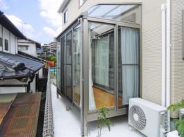 福岡県福岡市南区のお庭のリフォーム工事です。サンルームを付けて洗濯物干場に。