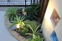 緑豊かな花壇